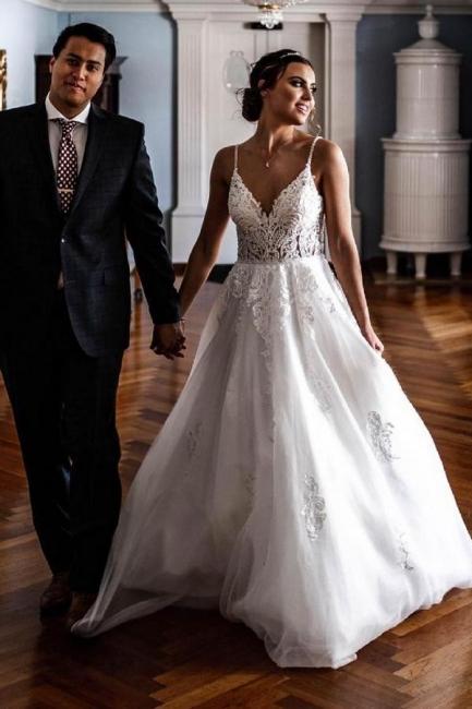 Schöne Hochzeitskleider A Linie   Brautkleider mit Spitze