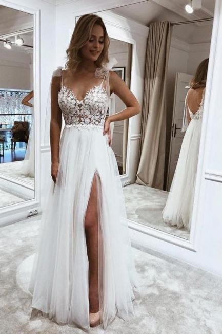 Schlichte Brautkleider Boho   Hochzeitskleider mit Spitze