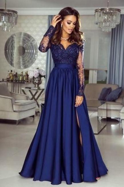 Elegante Abendkleider Lang Blau | Abiballkleider mit Spitze Ärmel