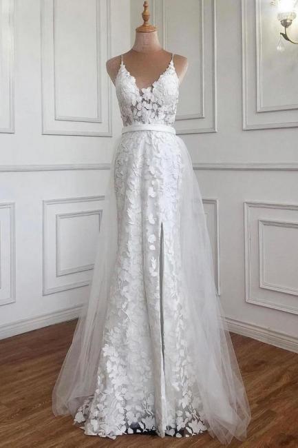Weiße Abendkleider mit Spitze | Abiballkleider Günstig Online