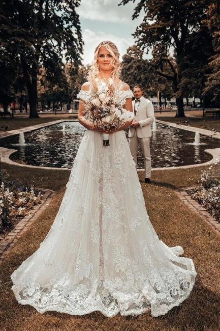Schöne Hochzeitskleider A Linie Spitze | Brautmoden Brautkleider Günstig