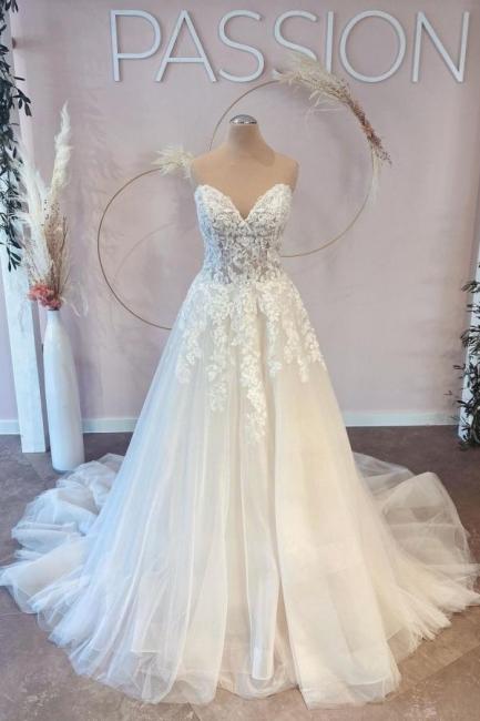 Elegante Brautkleider A Linie   Hochzeitskleider Spitze Günstig