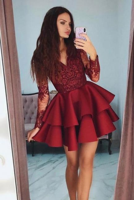 Elegante Cocktailkleider Kurz Mit Spitze   Rote Abendkleider mit Ärmel