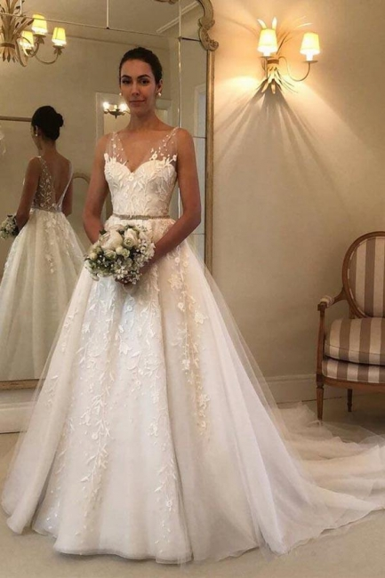 Designer Brautkleider A Linie Spitze | Hochzeitskleider Günstig Online