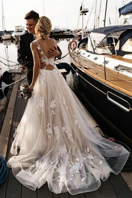 Wunderschöne Brautkleider A Linie Spitze   Hochzeitskleider Online Günstig