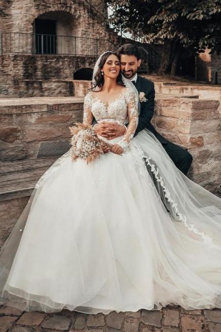 2021 Brautkleider mit Ärmel | Hochzeitskleider A Linie Spitze
