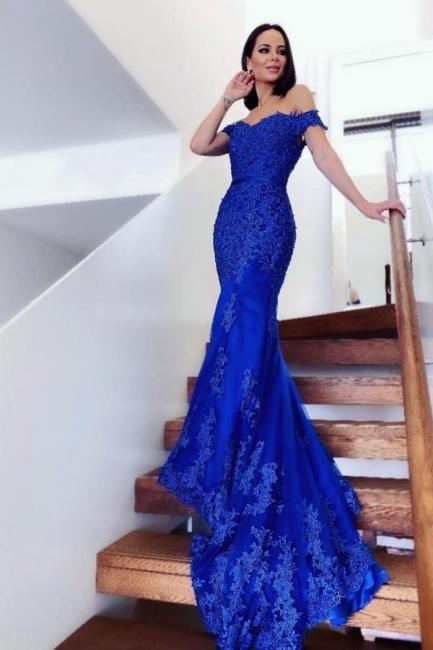 König Blau Abendkleider Lang Günstig   Abiballkleider mit Spitze