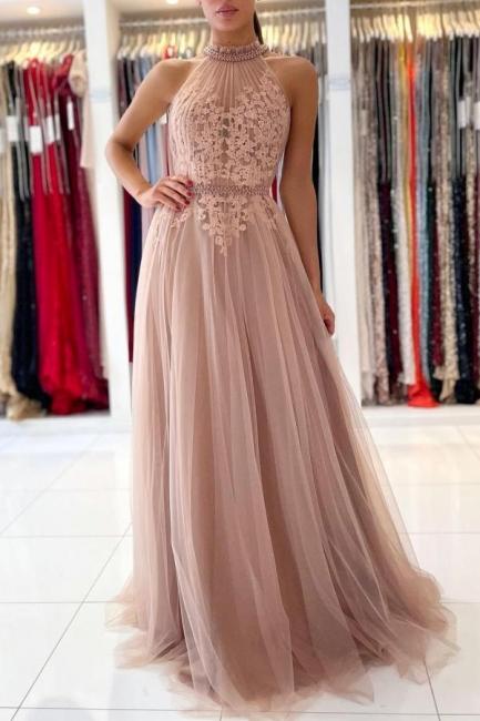 Abendkleider Lang Altrosa | Abiballkleider mit Spitze