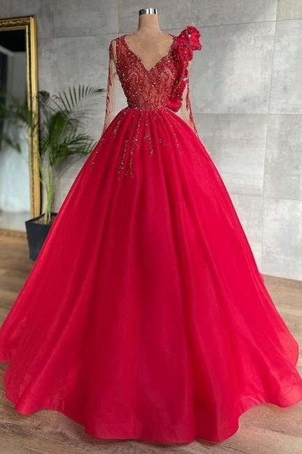 Rote Abendkleider Mit Ärmel | Abiballkleider Lang Günstig