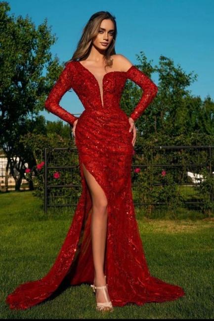 Rote Abendkleider Lang Glitzer   Abiballkleider mit Ärmel