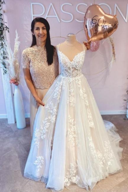 Schöne Hochzeitskleider A Linie Spitze | Brautkleider Günstig