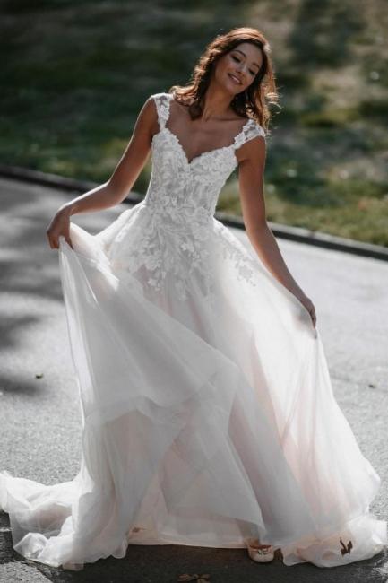 Boho Hochzeitskleider A Linie Spitze   Brautkleider Günstig Online