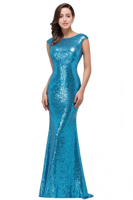 Blaue Abendkleider Lang Glitzer   Abiballkleider Günstig