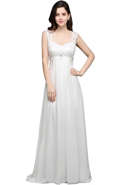 Schlichtes Abendkleid Lang Günstig | Chiffon Kleider Weiß