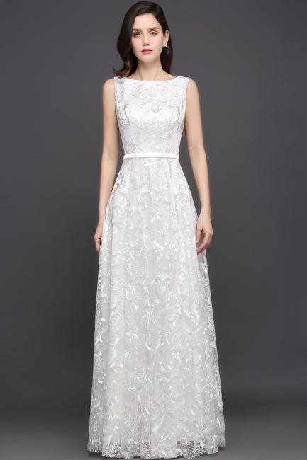 Abendkleider mit Spitze   Abiballkleider Lang Weiß