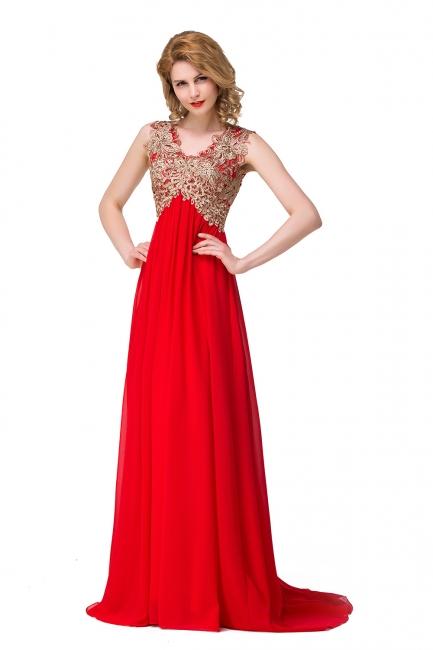 Abendkleid Lang V Ausschnitt | Rote Abiballkleider Günstig