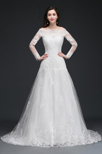 Elegante Hochzeitskleider mit Ärmel   Brautkleid A Linie