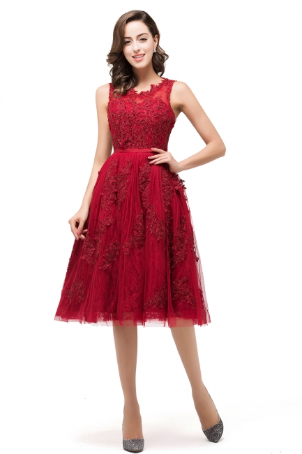Rotes Cocktailkleider Kurz | Abendkleider mit Spitze