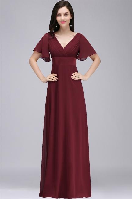 Abendkleid Lang V Ausschnitt | Weinrot Abiballkleider
