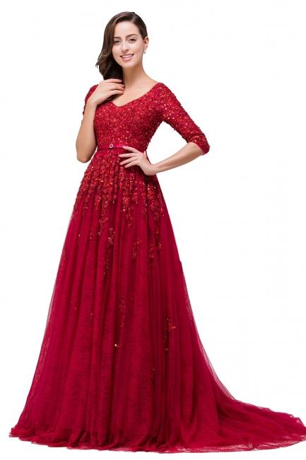Rote Abendkleider Lang v Ausschnitt | Abiballkleider mit Ärmel