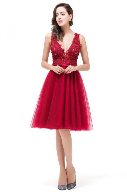 Rote Abendkleider V Ausschnitt | Cocktailkleider Kurz