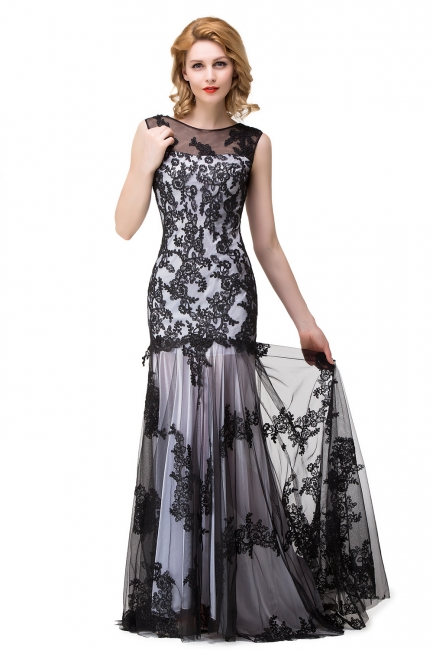 Designer Abendkleider mit Spitze | Abiballkleider Lang Schwarz