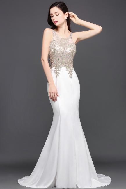 Abendkleider Lang Weiß | Abiballkleider mit Glitzer