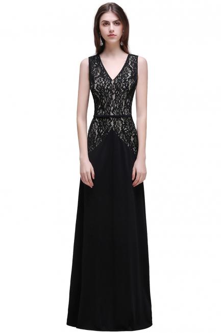 Abendkleider Lang V Ausschnitt   Schwarzes Abiballkleid