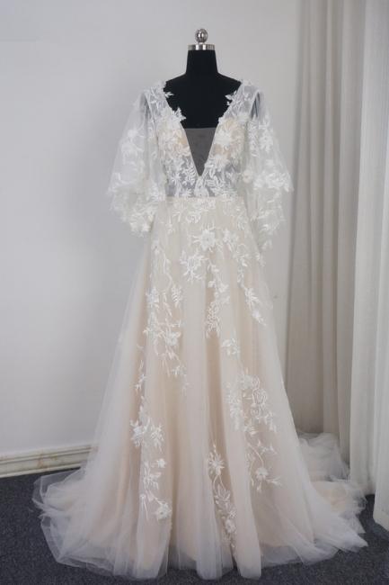 Brautkleider A Linie Spitze | Hochzeitskleid mit Schleppe