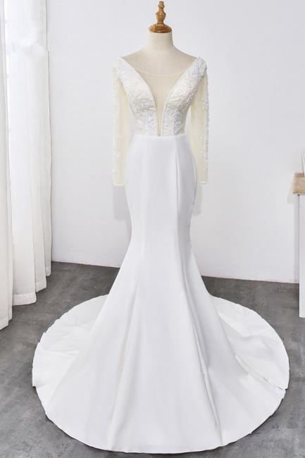Designer Hochzeitskleider mit Ärmel | Brautkleid Meerjungfrau Spitze
