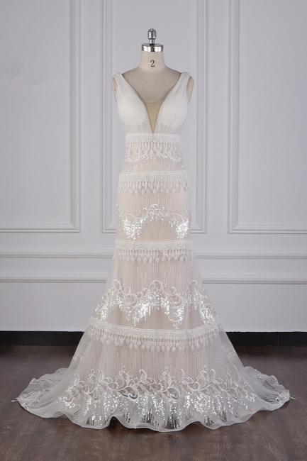 Romantische Hochzeitskleider V Ausschnitt | Brautkleid Spitze