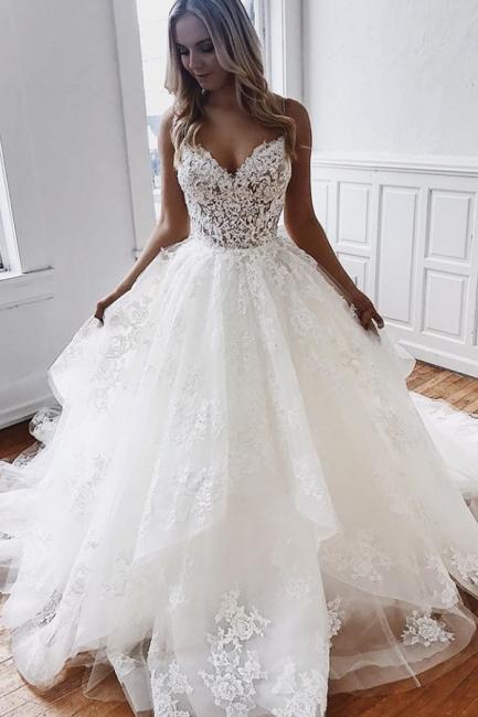 Designer Brautkleider Spitze   Hochzeitskleider A Linie Günstig