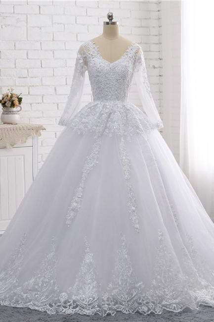 Schlichte Hochzeitskleider Spitze   Brautkleider lange Ärmel