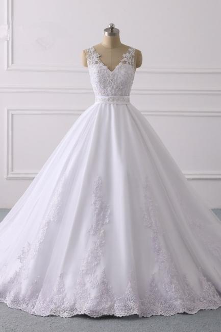 Designer Brautkleider A Linie Spitze | Hochzeitskleider V Ausschnitt
