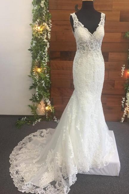 Brautkleid V Ausschnitt Spitze | Designer Hochzeitskleider