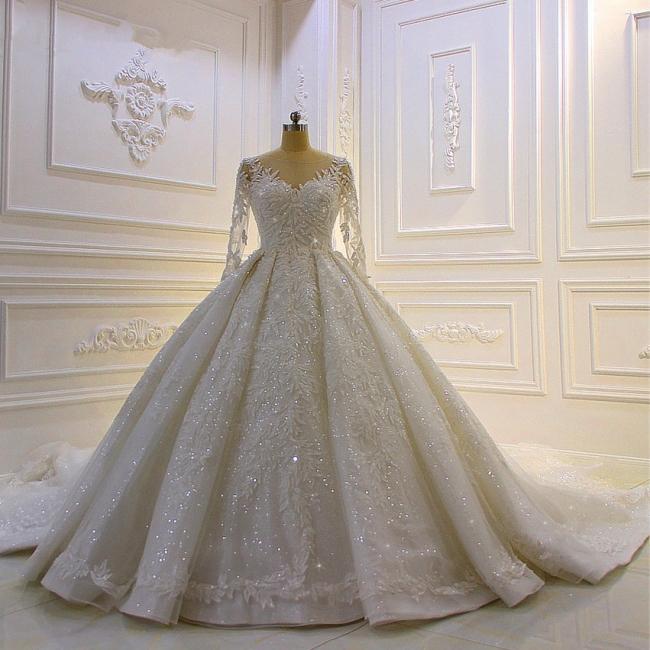 Hochzeitskleid Prinzessin Glitzer | Brautkleider Lange Ärmel
