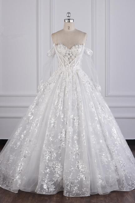 Ausgefallene Hochzeitskleider Lange Ärmel   Brautkleid mit Spitze