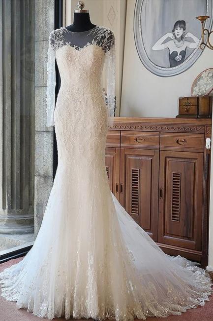 Brautkleid Meerjungfrau Spitze | Brautmode Schlicht Elegant