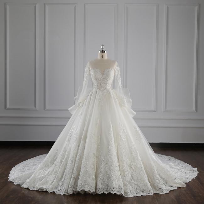 Brautkleider Lang Ärmel | Hochzeitskleid Spitze