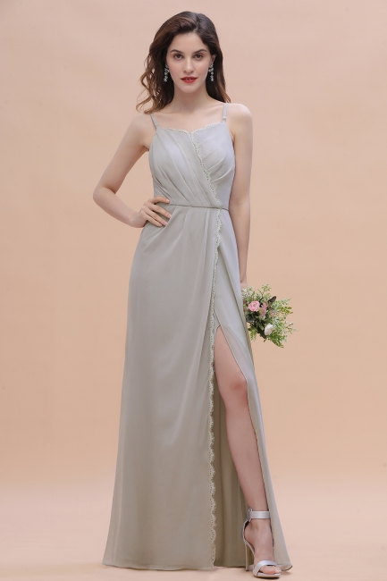 Grau Brautjungfernkleider Lang | Chiffon Kleider Für Brautjungfern