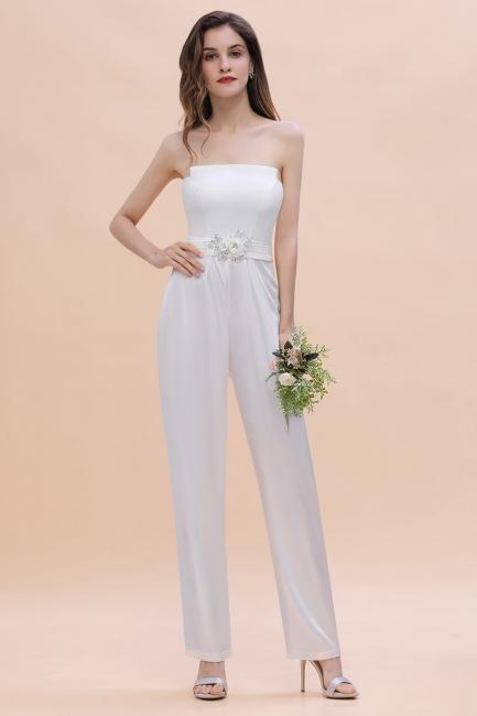 Weiße Brautjungfernkleider | Jumpsuit Kleider Brautjungfer