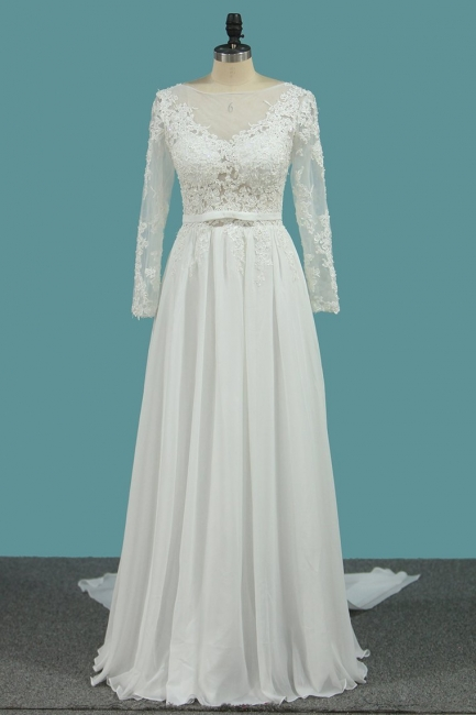 Schlichte Brautkleider mit Ärmel | Hochzeitskleider A Linie