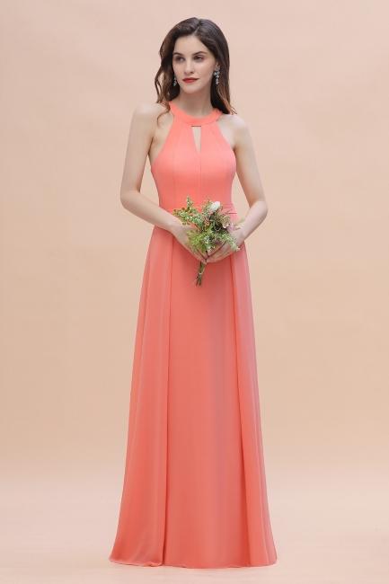 Halter Brautjungfernkleider Lang Chiffon | Hochzeitspartykleider Günstig