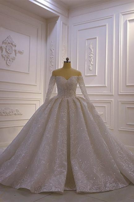 Brautkleider mit Langem Arm | Silbernes Hochzeitskleid