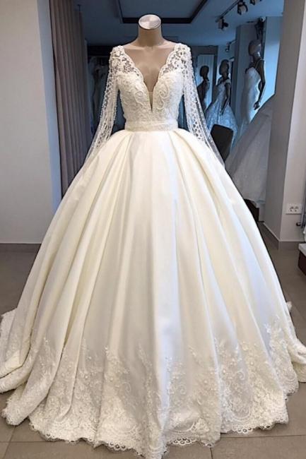 Elegante Brautkleid Mit Ärmel | Prinzessin Hochzeitskleid Weiß Online
