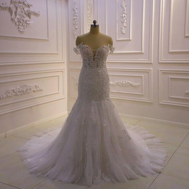 Designer Hochzeitskleid Glitzer | Brautkleid Meerjungfrau Spitze