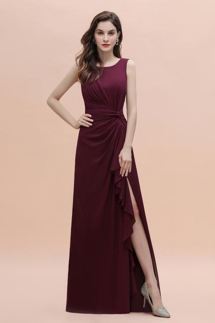 Schlichtes Abendkleid | Brautjungfernkleider Lang Weinrot