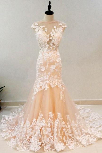 Champagne Brautkleider mit Spitze | Hochzeitskleider Meerjungfrau