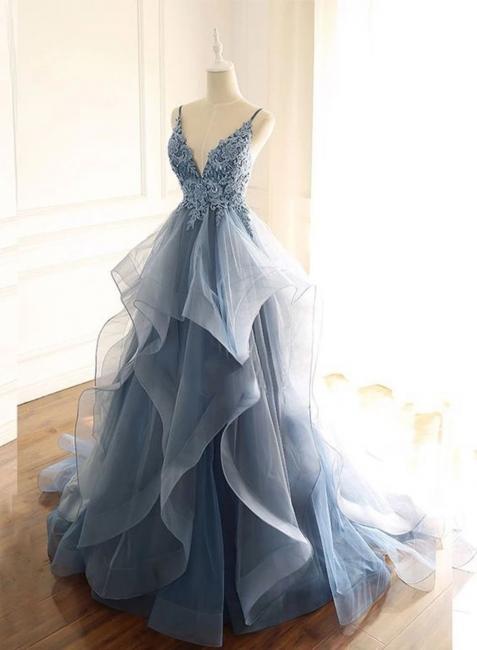 Abendkleider Lang Blau | Abiballkleider Mit Spitze Günstig