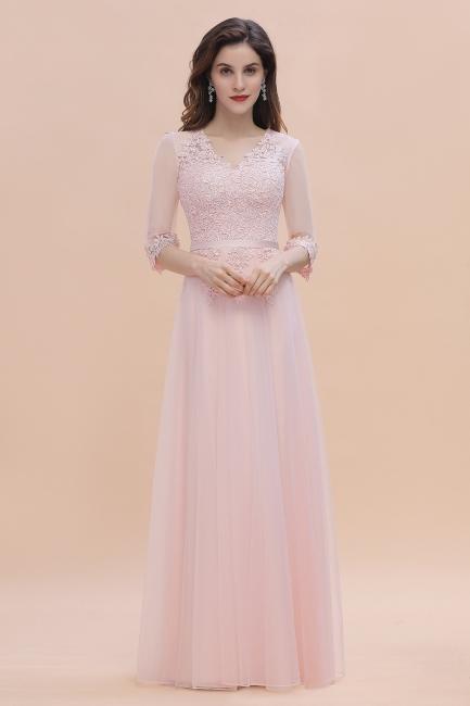 Brautjungfernkleider Lang Rosa | Chiffon Kleider Mit Spitzen Ärmel